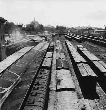 Vista de líneas de ferrocarril de la American Railroad Co. of Porto Rico en San Juan, Puerto Rico