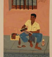 El limpiabotas (portafolio Estampas de San Juan, Centro de Arte Puertorriqueño)