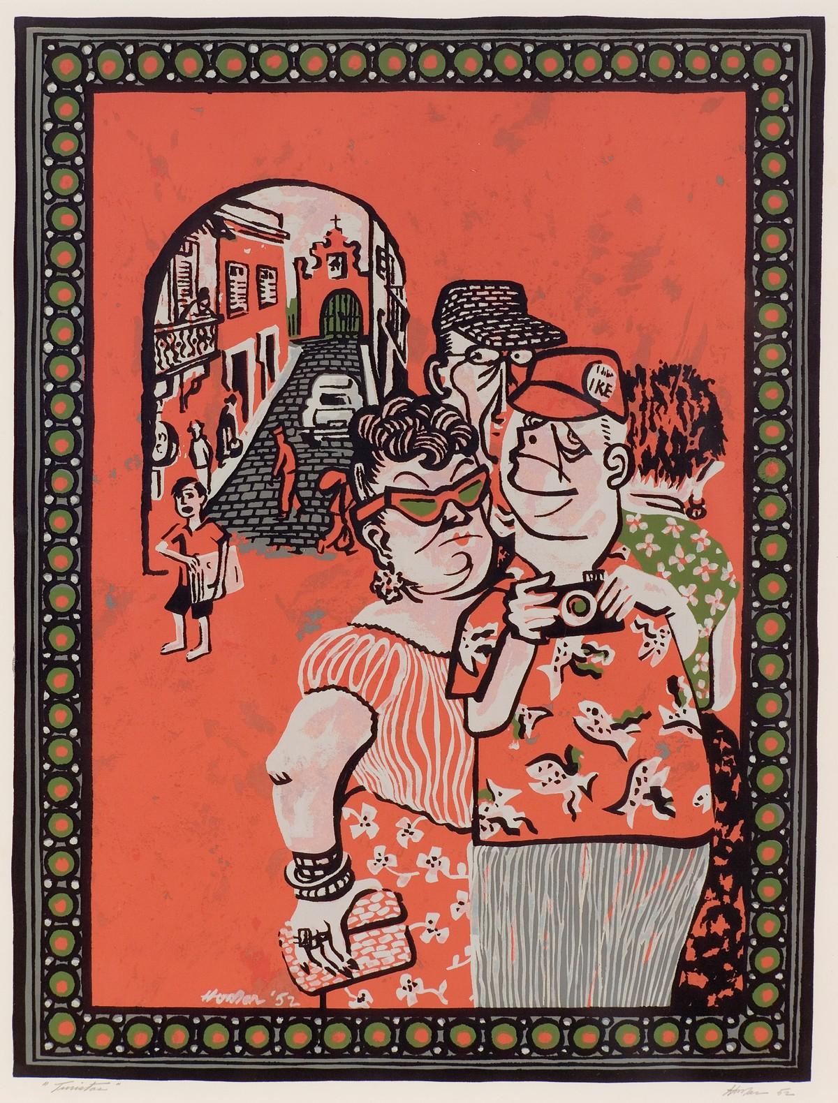 Tourists (Vignettes of San Juan portfolio, Center for Puerto Rican Art)