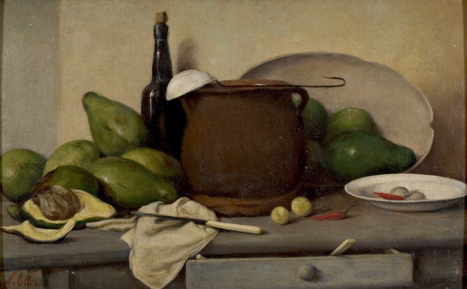 Still Life with Avocados and Utensils