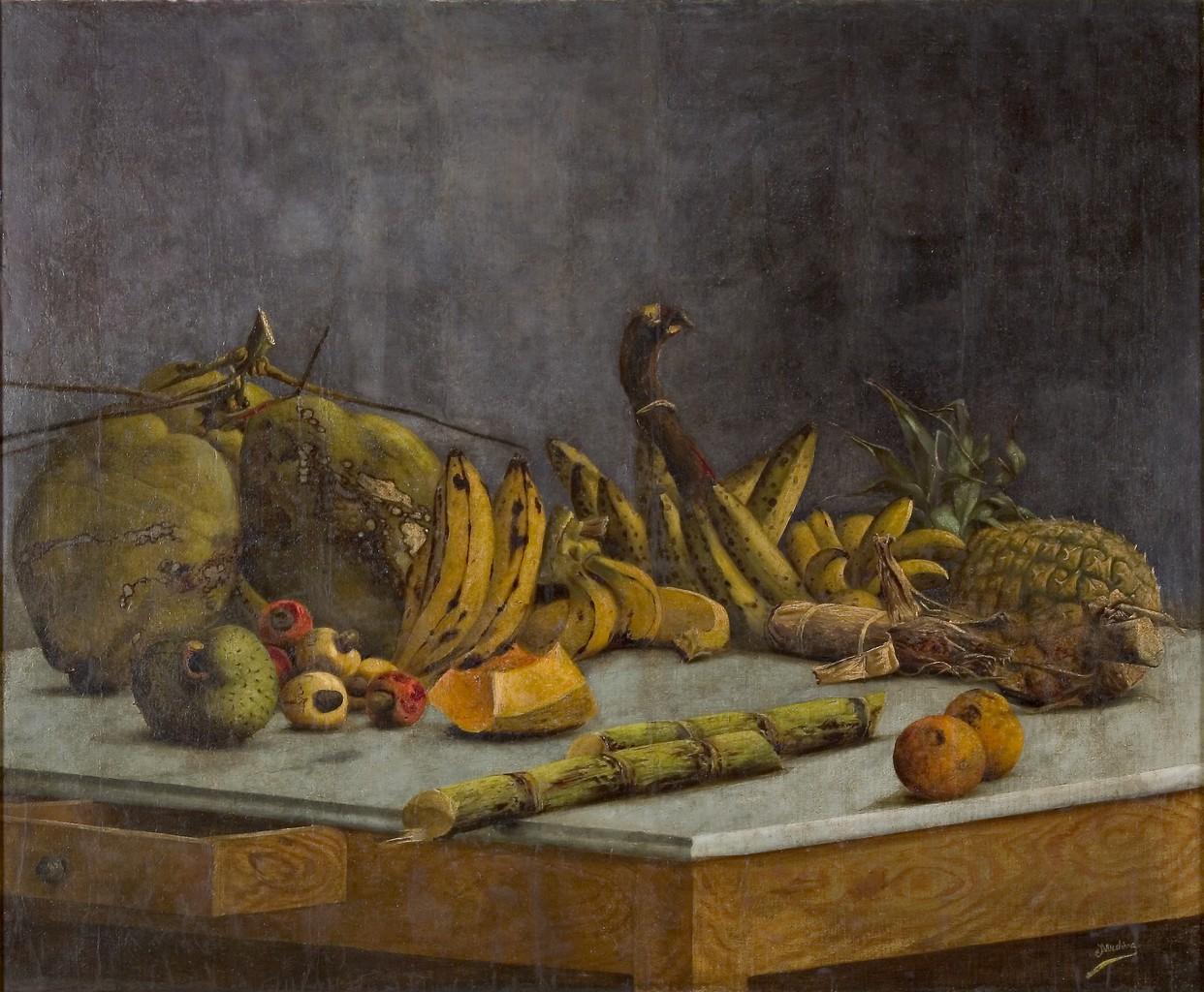 Bodegón con frutas, vianda y caña