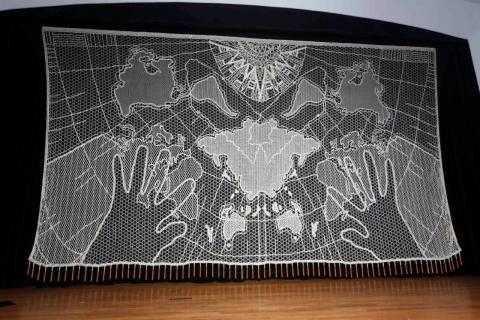 """""""Mundillo nuestro"""" (1999-200), the bobbin lace stage curtain of the Raúl Juliá-Banco Popular Theater"""