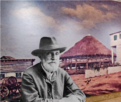 """Photograph of Francisco Oller in front of the digital enlargement of the painting """"Trapiche Meladero"""""""