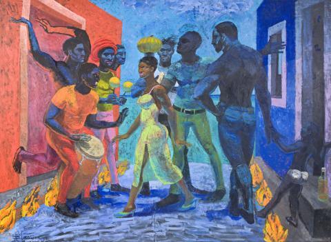 Por la encendida calle Antillana va Tembandumba de la Quimbamba