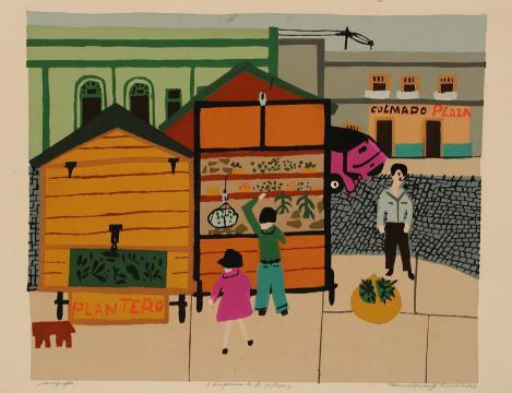 Esquina de la plaza (porfolio Estampas de San Juan, Centro de Arte Puertorriqueño)