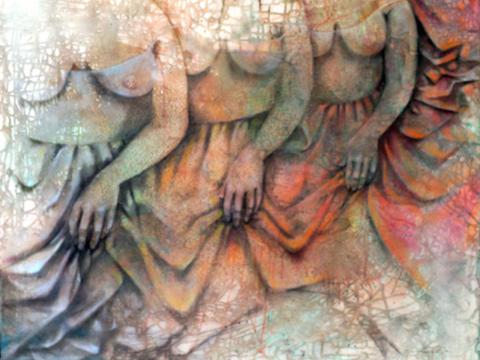 Tres figuras y un drapeado