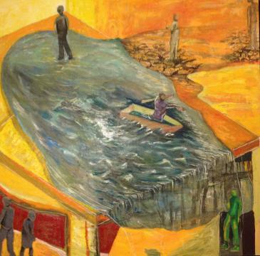 Pintura con tonos claros y un mar sobre la mesa