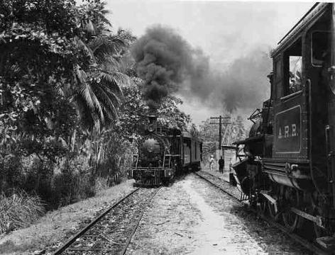 Tren en apartadero esperando que pase otro tren cerca de Rincón, Puerto Rico