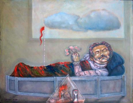 Sujeto muerto con banderita roja
