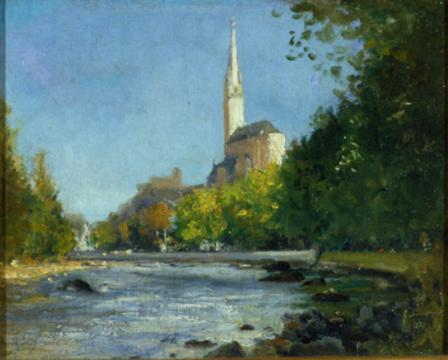 The Basilica of Lourdes from the Gave River